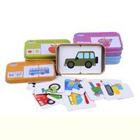 Wholesale Toy Card Packaging - Wholesale-Early Educational Montessori English Fruit Animal Traffic Match Game Puzzle Card Toys for Iron Box Package 3D Puzzle toys