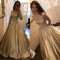 Wholesale elegant vintage evening gowns - 2018 Elegant Champagne Prom Dresses Off The Shoulder A Line Long Sleeves Applique Satin Lace Sweep Train Vintage Evening Gowns BA7165