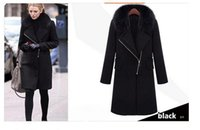 Wholesale Hot Rabbit Dresses - 2017 new hot sale winter coat women winter dress real rabbit fur collar long brand wool coat