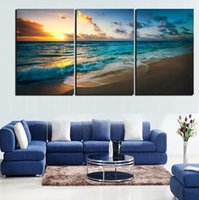 Wholesale Beach Panel Wall Art - 3pcs set Unframed Sunset Beach Blue and Golden Seascape Painting Oil Painting On Canvas Giclee Wall Art Painting Art Picture For Home Decor