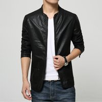 plus size pu motorcycle jacket Australia - Wholesale- Black Brown Faux Fur Slim Fit Mens Jacket Windbreaker Coat Male Plus Size 5XL Soft PU Leather Motorcycle Jacket veste homme Sale