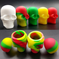 Wholesale 15ml Jar - New Skull Shape Small Silicone Jars Dab Wax Container 15ml Non-stick Silicone Container Food Grade Silicone Customized Dab Tool Storage Box