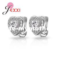 Wholesale Sterling Silver Heart Hoop Earring - PATICO Classical 925 Sterling Silver Earrings For Women With Heart Shape Rhinestone Hoop Earring For Pierced Ear Jewelry New