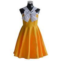 Wholesale sexy custom cosplay online - Malidaike Anime Fairy Tail Yellow Sexy Short Dress Anime Cosplay Costume Summer Dress Lovely Lolita Dress