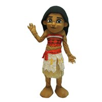 Wholesale Cartoon Girl Mascot Costumes - Girl Moana Princess dress 2017 New Children high quality cartoon moana mascot costume adult size