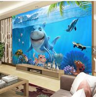 fondos de pantalla de fotografia al por mayor-Decoración para el hogar papel pintado fotografía de papel mundo submarino de dibujos animados tiburón Restaurante Kindergarten habitación de los niños 3d mural de la pared fondo de pantalla