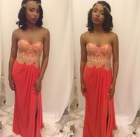 Wholesale Watermelon Sweetheart Sequin Prom Dress - Sexy Prom Dresses 2017 Women Formal Evening Party Gown Pageant Dress Sheath Chiffon Lace Beads Side Split Zipper Back Watermelon African
