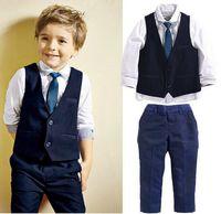 Wholesale Gray Necktie - 4PCS Baby Boys Dress Suit Vest + Shirt + Necktie +Pants Set Kids Clothes Outfits
