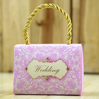 Wholesale Wedding Handle Bags - Party Favors Wedding Paper Cardboard Boxes Return Gifts Bag European Paper Bags With Handles Great Gift Craft Drop Shipping