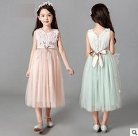 Wholesale Long Vest Dresses Wholesale - Big grils floral vest dresses 2017 summer new children lace jacquard splicing tulle long dress kids appliqued bow belt princess dress T1105