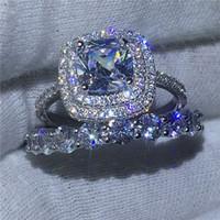 conjuntos de alianças de zircon venda por atacado-Infinito Jóias Feminino 925 Sterling Silver Ring Set Completa 5A Zircon Cz Anéis De Noivado de casamento banda de pedra para as Mulheres Presente