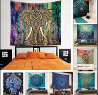 Wholesale Weaved Mat - 150*130cm Bohemian Mandala Beach Tapestry Hippie Throw Yoga Mat Towel Indian Elephant Peacock Polyester Beach Shawl Bath Towel KKA1505