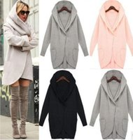 Wholesale Hooded Womens Trench Coat - 2017 Winter Womens Wool Blends Coat Long Sleeve Hooded Plus Size 4XL Trench Coat Windbreaker Parka Fashion Loose Pocket ladies Outwear