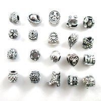 Wholesale spike bracelets fashion for sale - Group buy New Mix Alloy Charms Mix Color Rhinestone Big Hole Beads fit Fashion Silver Pandora Bracelet DIY Jewelry