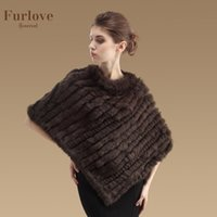 Wholesale Genuine Fur Cape - Wholesale-2016 New Real Rabbit Fur Shawl Fashion Women Genuine Rabbit Fur Poncho Knitted Natural Rabbit Fur Cape