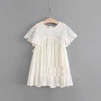Wholesale Fringe Dresses - Everweekend Girls Summer Lace Party Dress with Fringe Tassels Ruffles Beige Color Princess Western Fashion Holiday Dresses