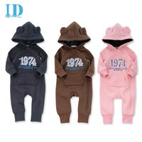 Wholesale Warm Infant One Piece Clothing - IDGIRL Baby Rompers Autumn Winter Baby Clothes Zipper Warm Newborn Clothing Infant Clothes One Piece Jumpsuit JY019