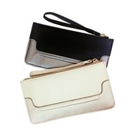Wholesale Dinner Package Bag - 2017 New Women Clutch Bags Wallets Holders Zipper Credit Card Patchwork Phone Bag Dinner Package Checkbook Beige Black High Quality HD-70051