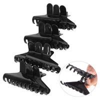 Wholesale Big Hair Clamps - Wholesale- 12 Pcs pack Pro Salon Black Plastic Butterfly Clamps Clips Hairdressing Tools Big Hair Claw Salon Section Clip Styling Tool