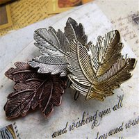 Wholesale Leaf Man Costumes - Wholesale- 3 pcs Gold Silver copper 3 Color Ally Maple Leaf Brooch Pin For Women Men Plant Costume Jewelry Wholesale