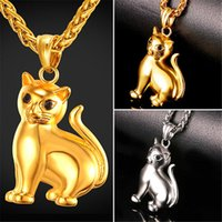 Wholesale lucky necklace men - U7 Lovely Cat PendantNecklace with Solid Body Rhinestone Eyes Gold Plated Stainless Steel for Women Men Fashion Lucky Pet Jewelry GP2417