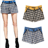 Wholesale Drop Pants For Women - Hot Sales Female Autumn Winter Houndstooth Slim Woolen Shorts for women new Fashion Patchwork plaid Boot Cut Short Pants Drop Shipping