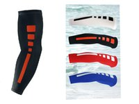 Wholesale Arm Pads White - A Pair Sport basketball Arm pads Safety Elbow Pads Printed Outdoor Calf Compression Arm Sleeves Sport Protector for Athletic Running Fit R11