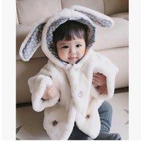 Wholesale Ear Fur Coats - Little baby Girls coat Fashion Winter Thickening Cute Rabbit bunny Ears Princess cloak outwear Baby Thicker Warm Coat Childrens Coat T4399