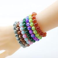 ingrosso braccialetti handmade delle coppie-XS 10mm Beads imitazione vetro agata Joker coppie braccialetto di giada per le donne ragazza gioielli fatti a mano regali all'ingrosso