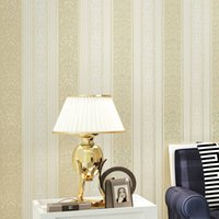 Atacado Europeu Stripe Non-woven Papel de parede 3D Flower Restaurante Quarto Sala TV Background Vertical Striped Mural Wall Covering