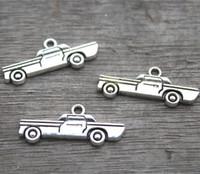 Wholesale Tibetan Silver Car - 25pcs--Car charms, Antique Tibetan silver car Charm Pendants 28x12mm