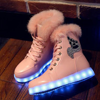 Wholesale Sequin Snow Boots Women - Led light Shoes Woman Platform Boots For Women Womens Girls Shoes Winter Ankle Boots Sequins Snow Boots Size 35-40 Free Shipping
