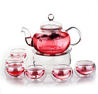 Wholesale Teapot Cup Sets - High Quality Heat Resistant Flower Teapot Set Tranparent Glass Tea Pot Set Infuser Teapot+Warmer+6 Cup Free Shipping