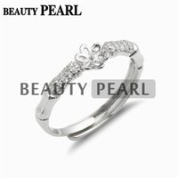 Wholesale Adjustable Blank Rings - 5 Pieces Pearl Ring Mounting DIY 925 Sterling Silver Zircon Findings Adjustable Ring Setting Ring Blank