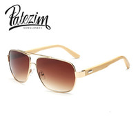 Wholesale Wood Sunglasses Wholesale - Wholesale- Real Bamboo Classic Rectangle Aviator Sunglasses Men Wood Foot Fashion Mens Sunglasses brand designer UV400 oculos de sol Women