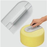 Wholesale Icing Smoother - White Cake Smoother Decorating Polisher Sugarcraft Sharp Icing Smoother Edge Kitchen Fondant Tool Valentine's Day Cake gift