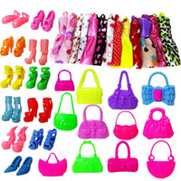 Wholesale Doll Shoes For Kids - 22 Pcs = 12Handmade Mini Dress Doll Clothes Short Skirt + 5 Doll Bag + 5Accessories Shoes Dollhouse For Barbie Doll Kid Toy Gift