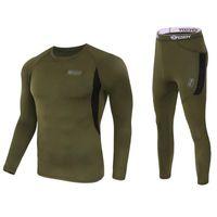 Wholesale Polartec Cycling - Wholesale- Men Long Johns Quick Dry POLARTEC Thermal Underwear Men Ski Jacket and Pants For Ski Riding Climbing Cycling