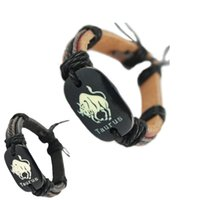 pulseras del tauro del zodiaco al por mayor-Brazalete de cuero genuino negro ajustable al por mayor lotes Taurus surfista cadena brazalete unisex brazalete de pulsera hecho a mano (DJ359)
