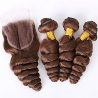 Chocolate Brown Indian 4 # Loose Wave Hair Weaves Bundles avec fermeture à lacets Double Wefted Loose Wave Dark Brown Hair Weft With Closure