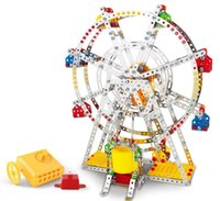 Wholesale 3d Puzzle Construction - 3D Assembly Metal Model Kits Toy Ferris Wheel With Music Box Building Puzzles 954pcs Accessories Construction Play Set