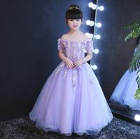 Wholesale Pictures Children Dresses - New Applique Purple Girl Pageant Dresses Children Flower Girl Dress Princess Tulle Bateau Model Picture Custom Made Sweep Length