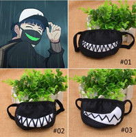 Wholesale Funny Mouths - 300Pcs Fashion Lovely Women Men Cartoon Funny Teeth Black Cotton Mouth Anti-fog Anti-bacterial Half Soft Teeth Mouth Mask