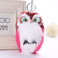 Wholesale Owl Key Pendant - Owl Pendant Key Chain Imitation Rabbit Fur Ball Keychain Cute Plush Pom Pom Fur Men Car Key Chain Women Bag Pendant
