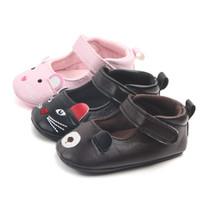 ingrosso cinghia inferiore del walker del bambino-Baby Princess Shoes Bambino PU cinturino in pelle fibbia primi camminatori neonate Cartoon Hello Kitty scarpe fondo morbido