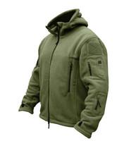 askeri ceket rahat toptan satış-Kış Askeri Taktik Açık Havada Softshell Polar Ceket Erkekler ABD Ordusu Polartec Spor Giyim Sıcak Rahat Hoodie Ceket Ceket