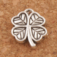 Heart Small Clover Charms 200pcs / lot Antique Silver Pendants Jewelry DIY L576 12.2x10.6mm Jewelry Findings Components