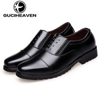 Wholesale Guciheaven Men Shoes - 2017 high quality Guciheaven brand mens almnd shaped toe dress shoes mens leather shoes for men black colour size 38-44 free shipping 6824#