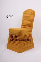 Wholesale Gold Color Wedding Chair Covers - Good Looking Gold Color Ruffled Spandex Chair Cover \ Cheap Price Wedding Stretch Lycra Chair Cover