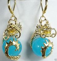 Wholesale Gold Jade Dragon - Fancy 12mm Blue Jade Dragon 18KGP Earrings